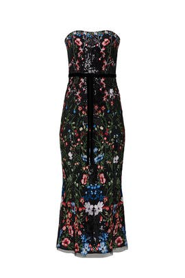 Multi Embroidered Midi Dress by Marchesa Notte