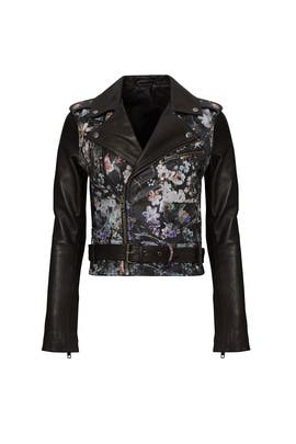 Black Floral Leather Jacket by Parker