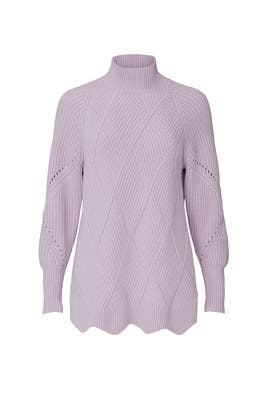 Purple Basketweave Turtleneck by Rebecca Taylor