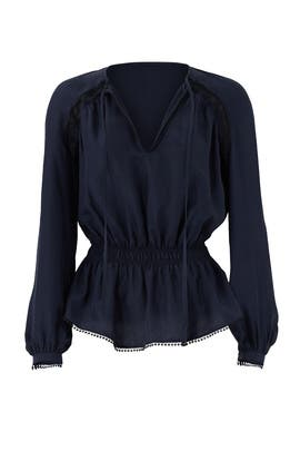 Navy Peaking Lace Tie Top by Derek Lam 10 Crosby