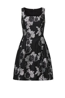 Black Floral Jacquard Flare Dress by Prabal Gurung Collective