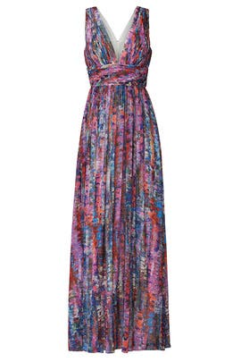 Watercolor Chiffon Gown by Aidan AIDAN MATTOX