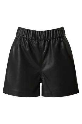 Black Faux Leather Shorts by Anine Bing