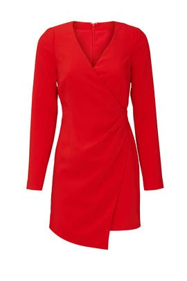 Red Faux Wrap Dani Dress by LIKELY