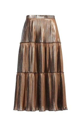 Gold Two Tone Pleated Skirt by Nicole Miller
