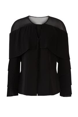 Black Pleated Sleeve Blouse by Prabal Gurung Collective