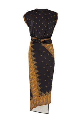 Black Printed Sheath by Paco Rabanne