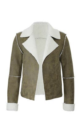 Green Faux Shearling Jacket by VIGOSS