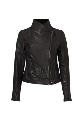 Black Leather Moto Jacket by VINCE.