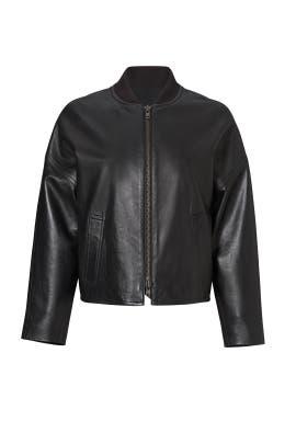 Black Leather Bomber Jacket by VINCE.