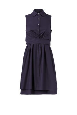Navy Tie Ruffle Dress by Derek Lam 10 Crosby