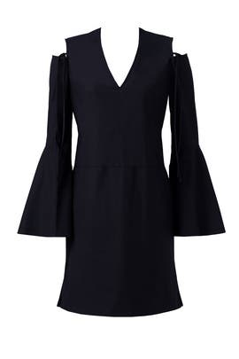 Black Exposed Shoulder Bell Sleeve Dress by DEREK LAM