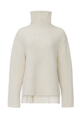 Ecru High Neck Sweater by JOSEPH