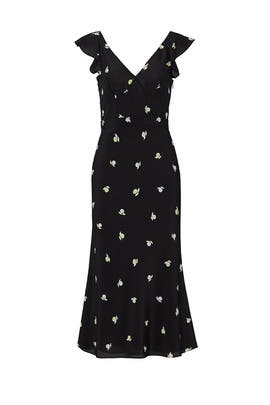 Black Floral Flutter Sleeve Dress by Jason Wu