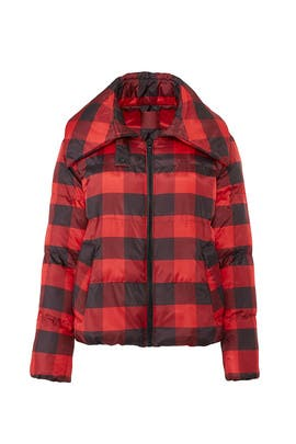 Red Plaid Puffer Coat by KENDALL + KYLIE