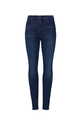 Blue High Waist Skinny Ankle Jeans by 7 For All Mankind