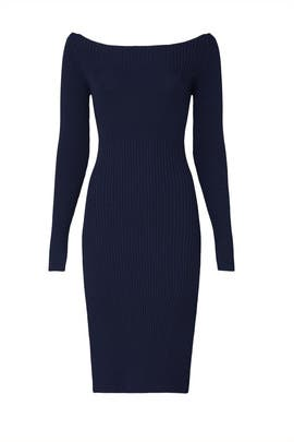 Navy Off The Shoulder Sweater Dress by Jason Wu Collective