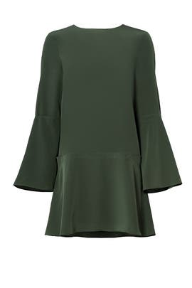 Green Silk Crew Dress by Tibi