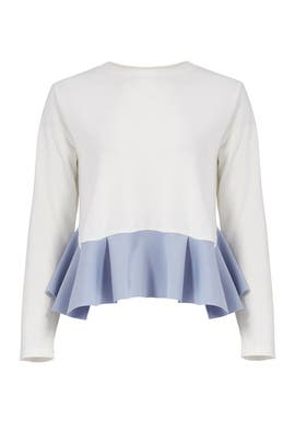 White Ruffle Hem Top by English Factory
