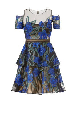 Navy Floral Cold Shoulder Dress by Marchesa Notte
