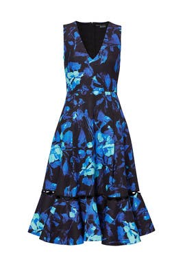 Blue Vibrant Floral Dress by Sachin & Babi