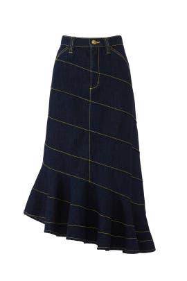 Asymmetric Stitch Denim Skirt by Tory Burch