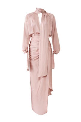 Mauve Satin Wrap Dress by Juan Carlos Obando