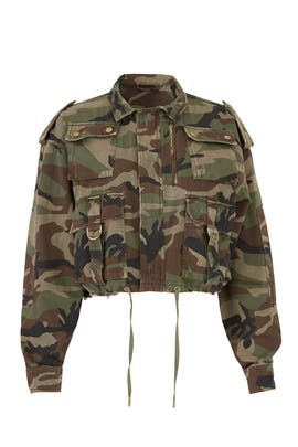Camouflage Cropped Parka by The Kooples