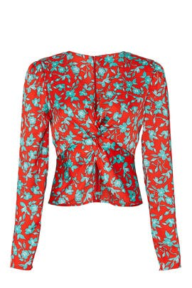 Red Floral Crop Top by Love, Whit by Whitney Port