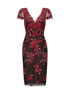59cee24478b Red Floral Embroidered Sheath by Marchesa Notte for $100 - $115 ...