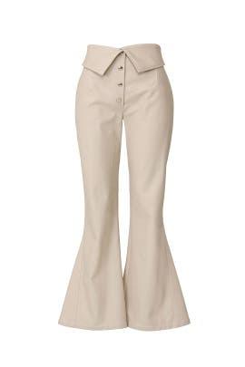High Waist Faux Leather Pants by Sara Battaglia