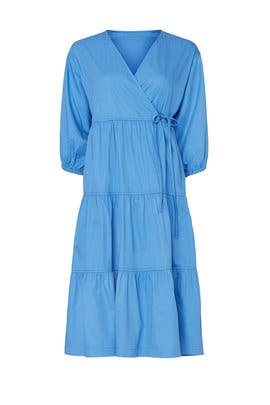 Blue Tiered Wrap Dress by Sweet Baby Jamie
