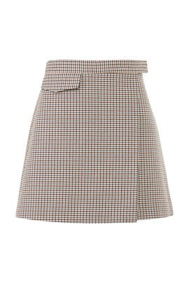 Plaid Snap Mini Skirt by Theory