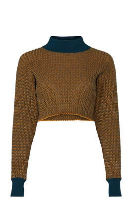 Cropped Mock Neck Sweater by Victor Glemaud