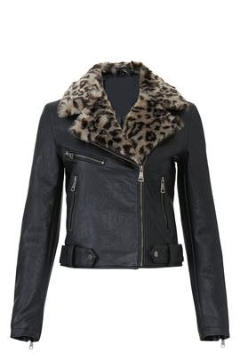 Leopard Collar Faux Leather Jacket by VIGOSS