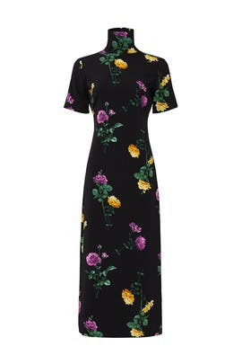Black Floral Mock Neck Dress by Louna