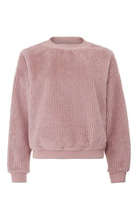 f5f7b199568969 Dusty Rose Faux Fur Sweatshirt by Moon River for $30 | Rent the Runway