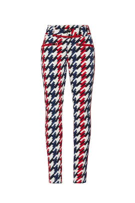 Red Houndstooth Aurora Skinny Ski Pants by Perfect Moment