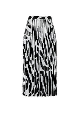 White Printed Pleated Midi Skirt by Proenza Schouler