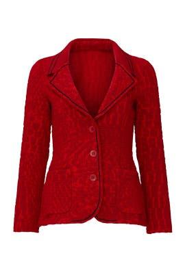 Red Textured Blazer by Aldomartins