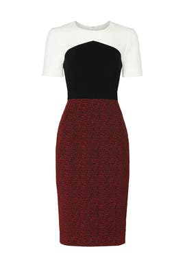 Red Jacquard Colorblock Dress by Jason Wu Collective