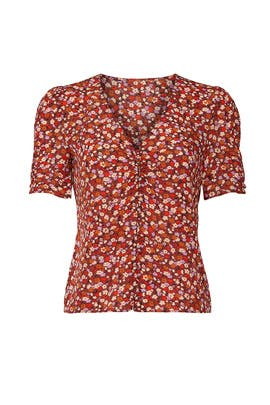 Burgundy Ditsy Floral Rosalie Top by Madewell