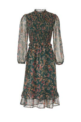 Pine Paisley Smocked Dress by Moon River