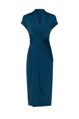 Steel Blue Faux Wrap Dress by Great Jones