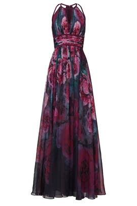 Plum Floral Print Chiffon Gown by Marchesa Notte