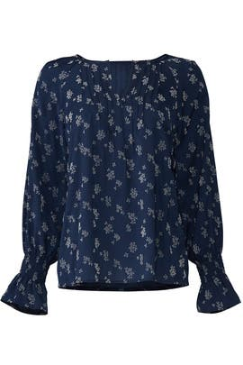 Flocking Print Peasant Blouse by Michael Stars