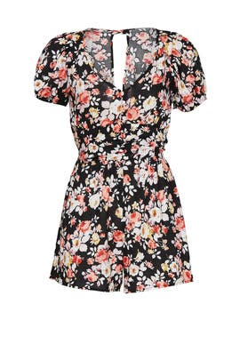 Black Floral Puff Sleeve Romper by Louna