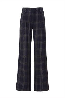 Blue Plaid Wide Leg Pants by VINCE.