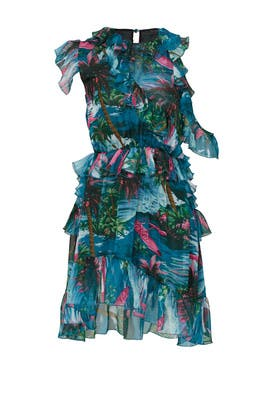 Printed Sea Blue Ruffle Dress by MSGM