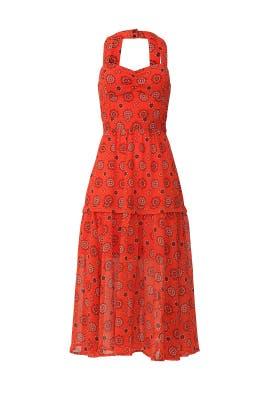 Red Medallion Midi Dress by Marissa Webb Collective